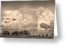 Thunderstorm Clouds And The Little House On The Prairie Sepia Greeting Card