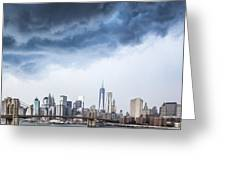 Thunderstorm Over Manhattan Downtown Greeting Card