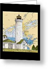 Tibbetts Pt Lighthouse Ny Lake Ontario Nautical Chart Map Art Greeting Card