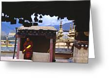 Tibetan Monk With Scroll On Jokhang Roof Greeting Card