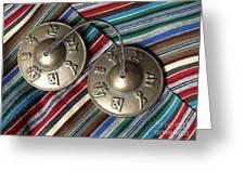 Tibetan Prayer Bells On Woven Scarf Greeting Card