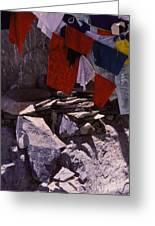 Tibetan Prayer Flags Behind The Potala Palace Greeting Card