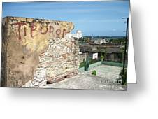 Tiburon And Basketball Court At The Top Of The Fort Wall Greeting Card