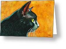 Black Cat In Profile Greeting Card