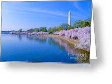 Tidal Basin And Washington Monument With Cherry Blossoms Greeting Card