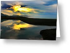 Tidal Pond Sunset New Zealand Greeting Card