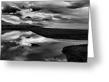 Tidal Pond Sunset New Zealand In Black And White Greeting Card