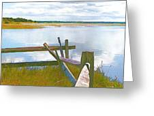Tide And Fence Oil Greeting Card