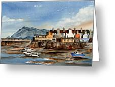 Tide Out Bray Harbour  Wicklow Greeting Card