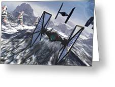 Tie Fighters On Patrol Over An Artic Greeting Card by Kurt Miller