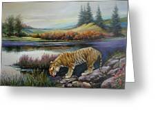 Tiger By The River Greeting Card