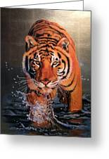 Tiger Crossing Water Greeting Card