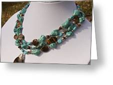 Tiger Eye And Turquoise Triple Strand Necklace 3640 Greeting Card