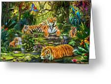 Tiger Family At The Pool Greeting Card