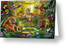 Tiger Family In The Jungle Greeting Card by Jan Patrik Krasny