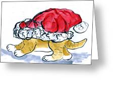 Tiger Gets Stuck In A Santa Hat Greeting Card