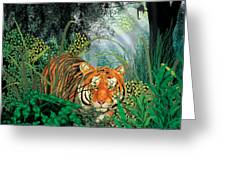 Tiger In The Jungle Greeting Card