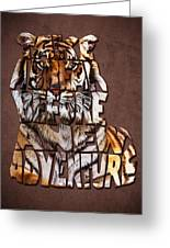 Tiger Majesty Typography Art Greeting Card