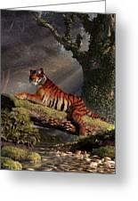 Tiger On A Log Greeting Card by Daniel Eskridge