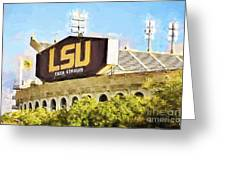 Tiger Stadium - Bw Greeting Card