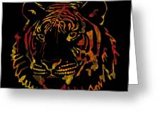 Tiger Watercolor - Black Greeting Card