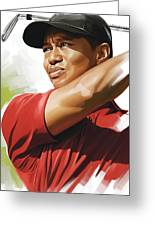 Tiger Woods Artwork Greeting Card