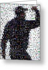 Tiger Woods Fist Pump Mosaic Greeting Card