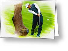 Tiger Woods Hits A Shot From The Rough Greeting Card