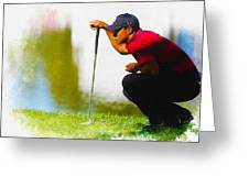 Tiger Woods Lines Up A Putt On The 18th Green Greeting Card