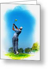 Tiger Woods Plays His Tee Shot On The 15th Hole Greeting Card