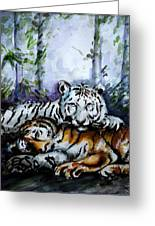 Tigers-mother And Child Greeting Card