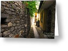 Tight Alley In Stone Greeting Card
