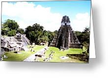Tikal - Jaguar Temple And North Acropolis Greeting Card