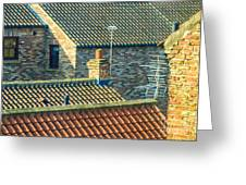 Tile Roofs - Thirsk England Greeting Card