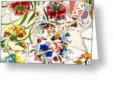 Tile Work In The Antoni Gaudi Park Barcelona Greeting Card