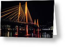 Tilikum Crossing Flooded With Light Greeting Card by John Magnet Bell