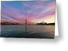 Tilikum Crossing Over Willamette River In Portland Oregon Greeting Card