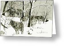 Timber Wolf Pack Greeting Card