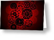 Time Clock Gears Clipart On Red Background Greeting Card
