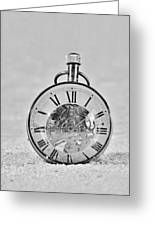 Time In The Sand In Black And White Greeting Card