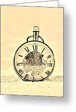 Time In The Sand In Sepia Greeting Card