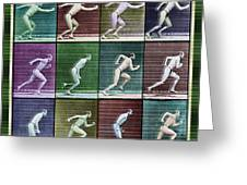 Time Lapse Motion Study Man Running Color Greeting Card