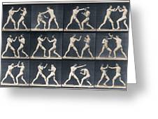 Time Lapse Motion Study Men Boxing Greeting Card
