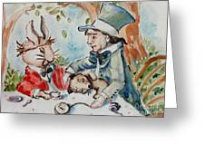 Time The Mad Tea Party 2 Greeting Card by Carrie Joy Byrnes