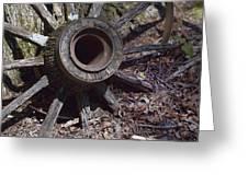 Time Worn Antique Wagon Wheel Greeting Card
