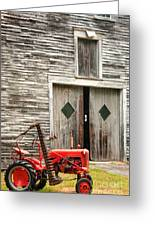 Red Tractor And Old Barn Ossipee New Hampshire Greeting Card