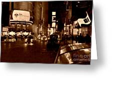 Times Square At Night - In Copper Greeting Card