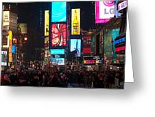 Times Square Crowds Greeting Card