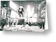 Times Square In The Snow - New York City Greeting Card