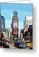 Times Square Nyc Cartoon-style Greeting Card